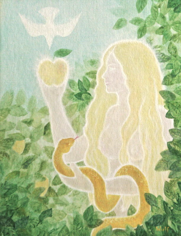 eve in paradise - mythical first mother with apple and serpent
